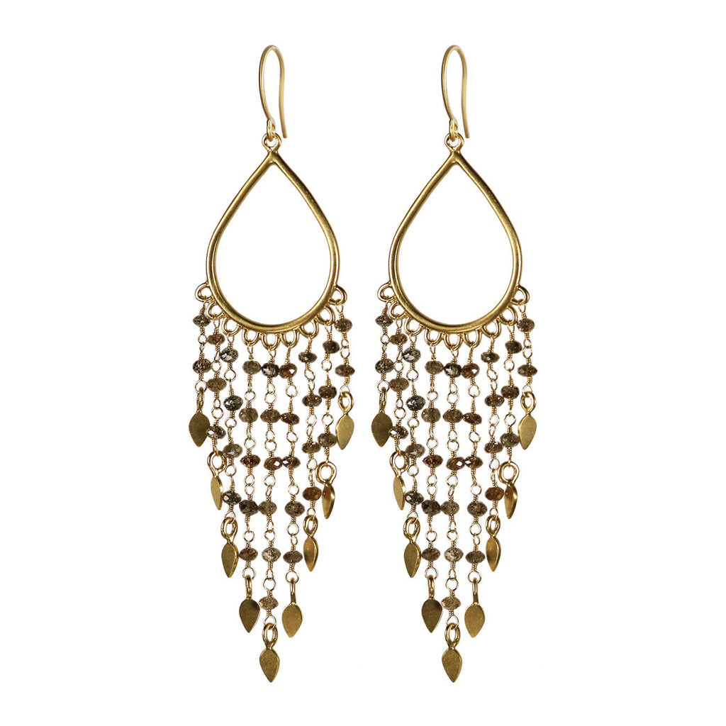 18K Gold Teardrop Brown Diamond Fringe Earrings