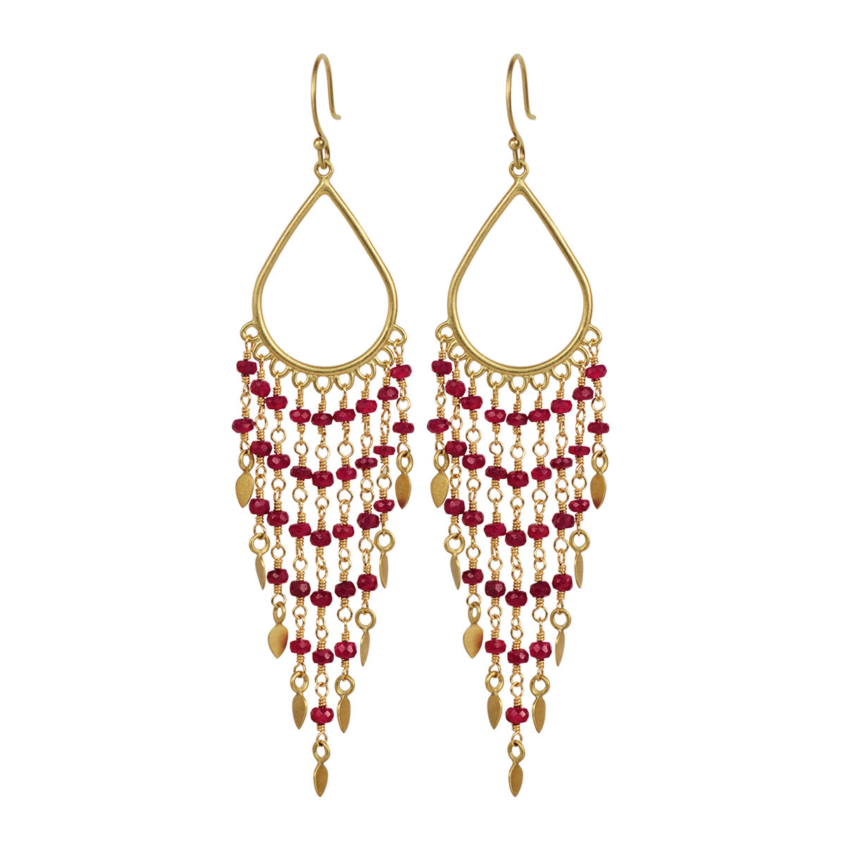 18k Gold Teardrop Ruby Fringe Earrings