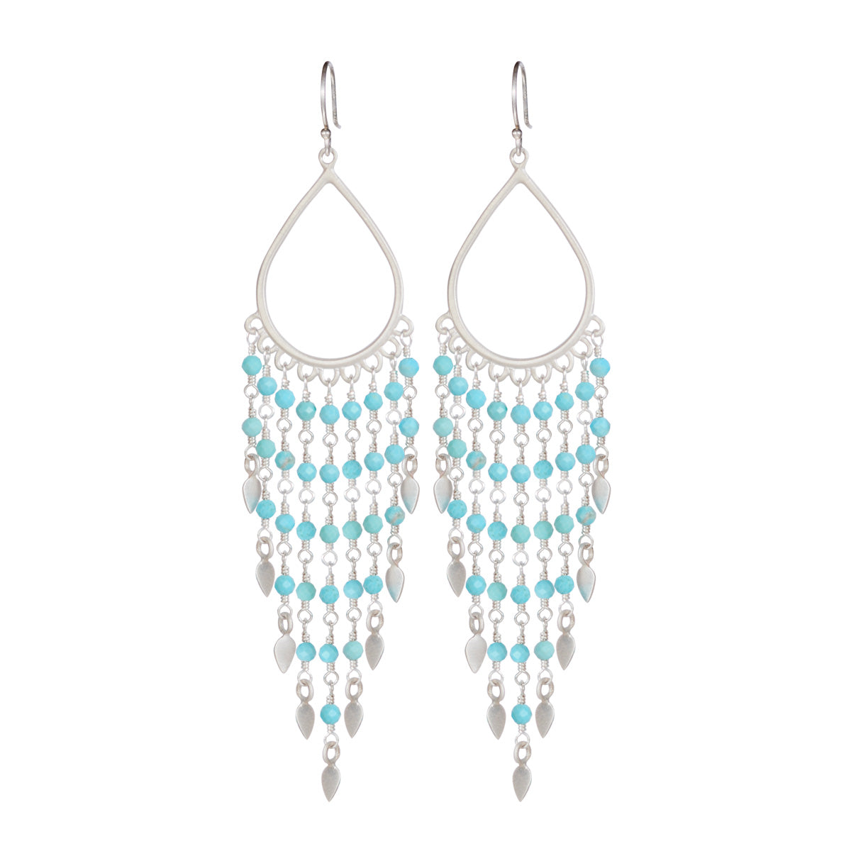 Sterling Silver Teardrop Turquoise Fringe Earrings