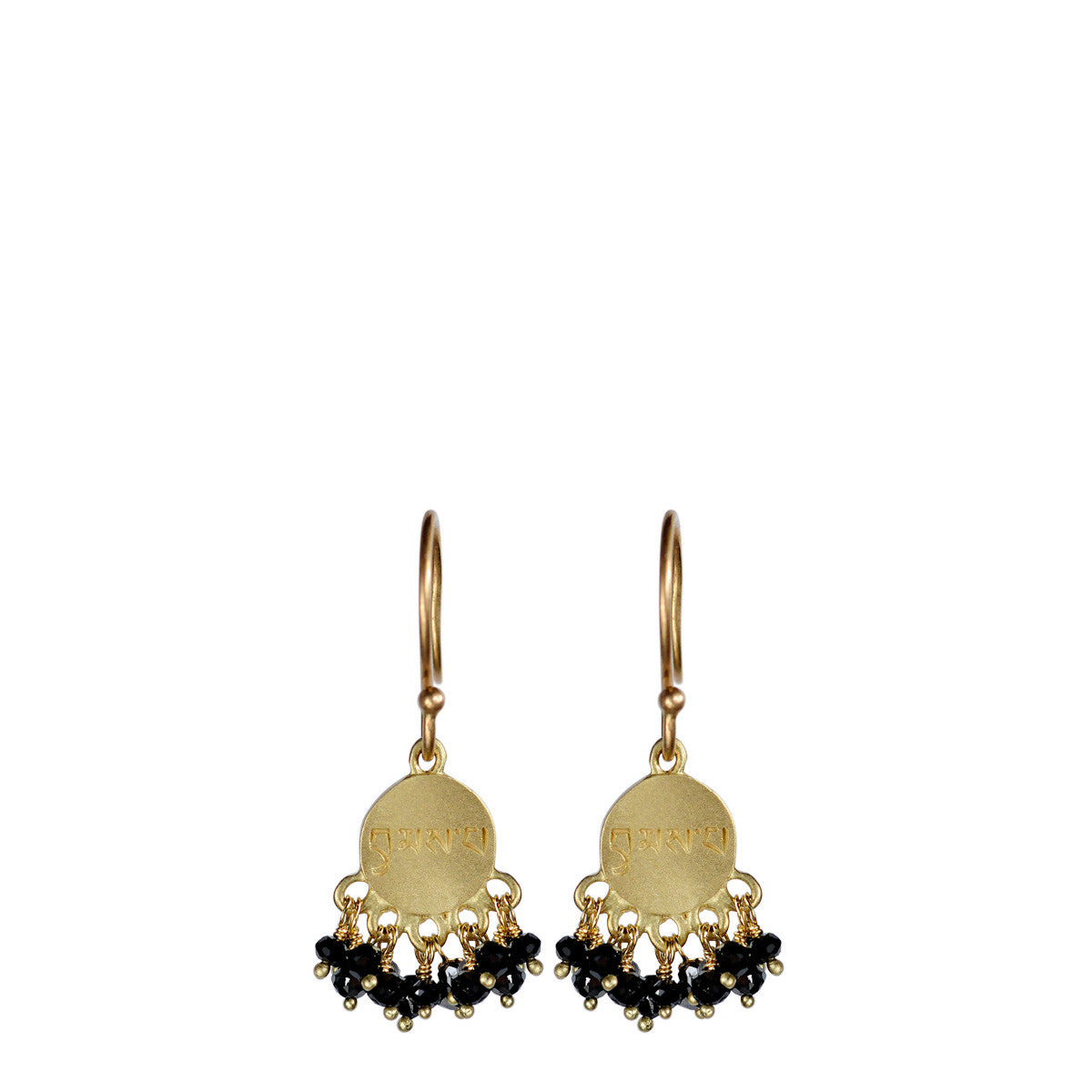 18K Gold Love Disc Earrings with Black Diamonds