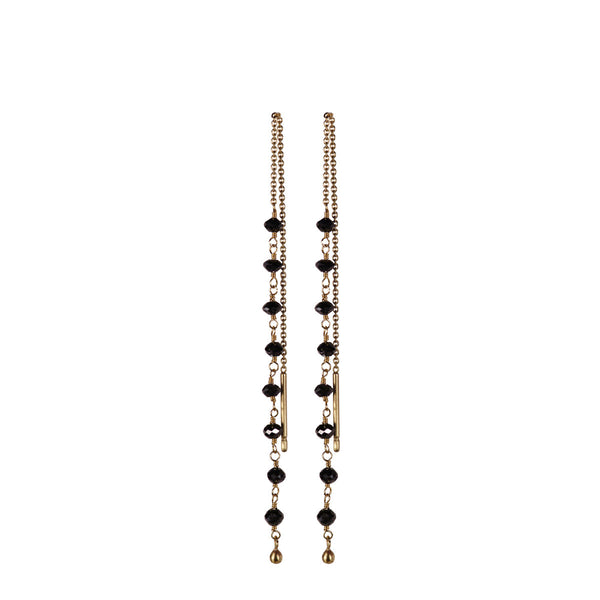 18K Gold Black Diamond Chain Earrings