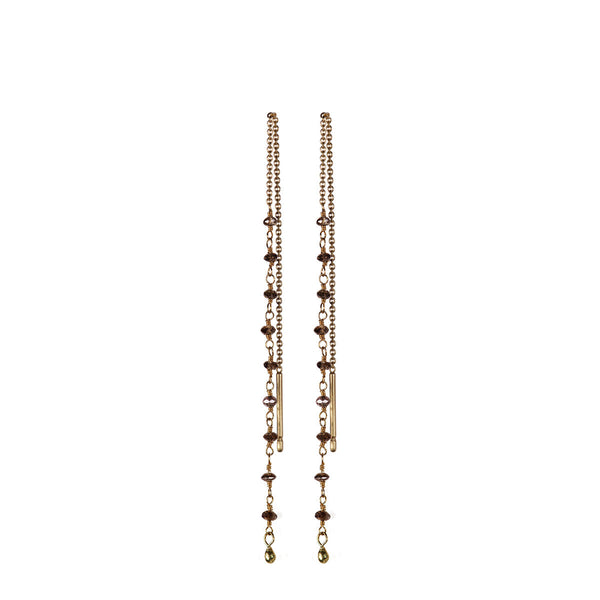 18K Gold Brown Diamond Chain Earrings