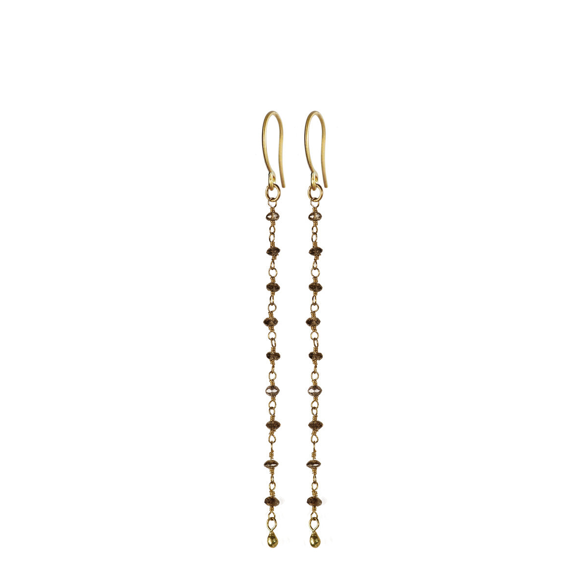 18K Gold Brown Diamond Earrings