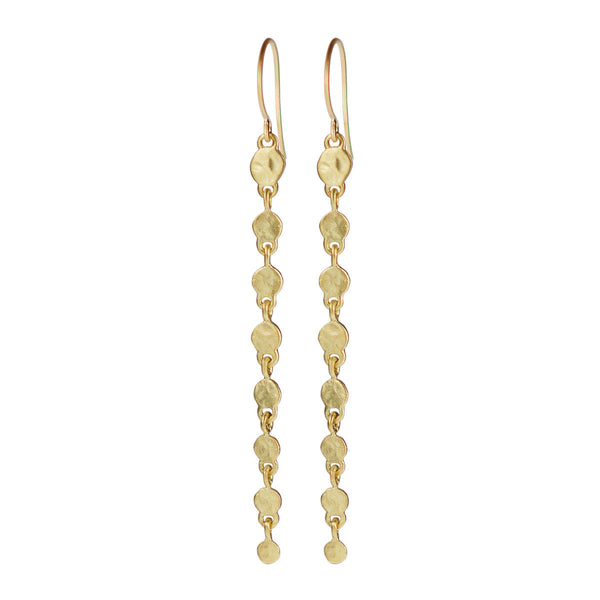 18K Gold Graduated Hammered Drop Earrings