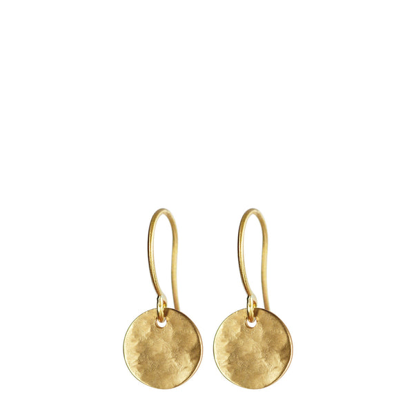18K Gold Small Hammered Disc Earrings