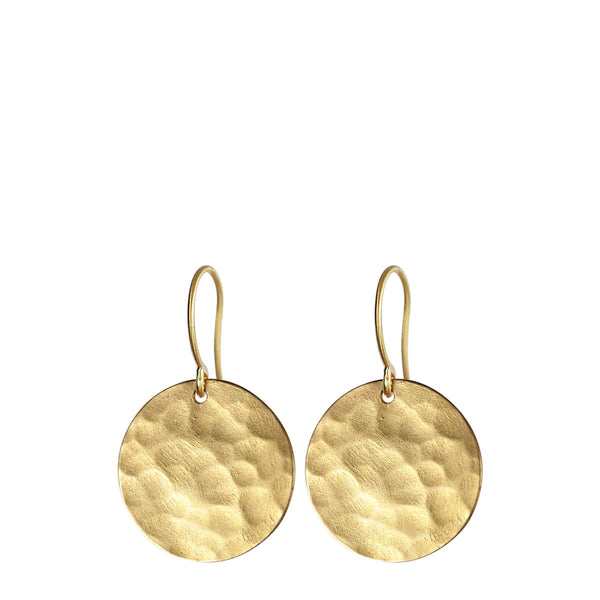 18K Gold Medium Hammered Disc Earrings