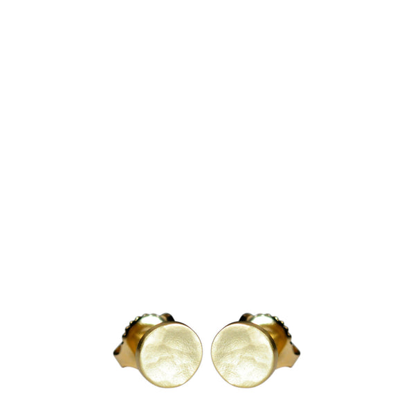 18K Gold Small Hammered Stud Earrings