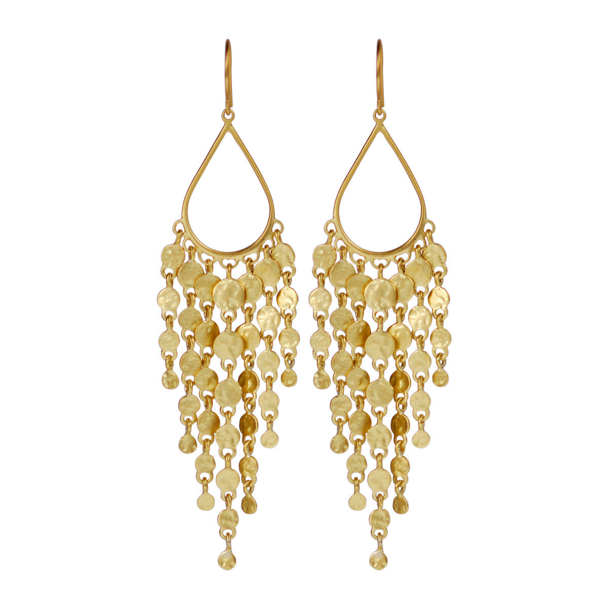 18K Gold Teardrop Hammered Disc Fringe Earrings