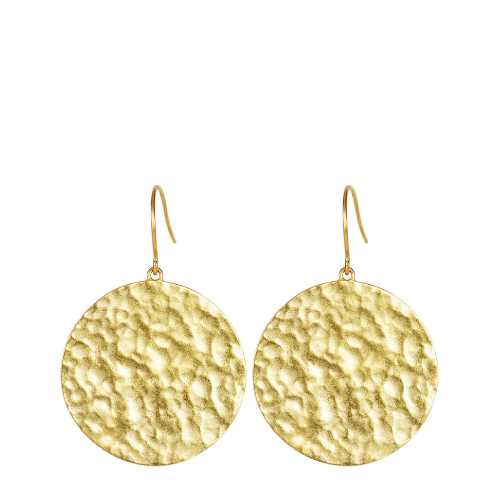 18K Gold Large Hammered Disc Earrings