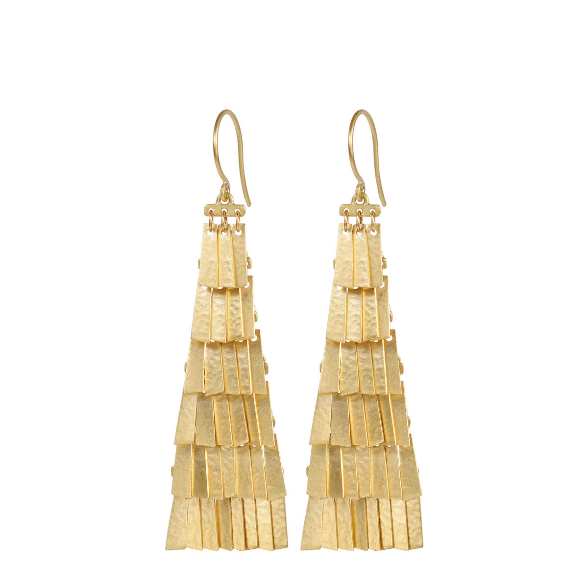 18K Gold Long Curtain Earrings
