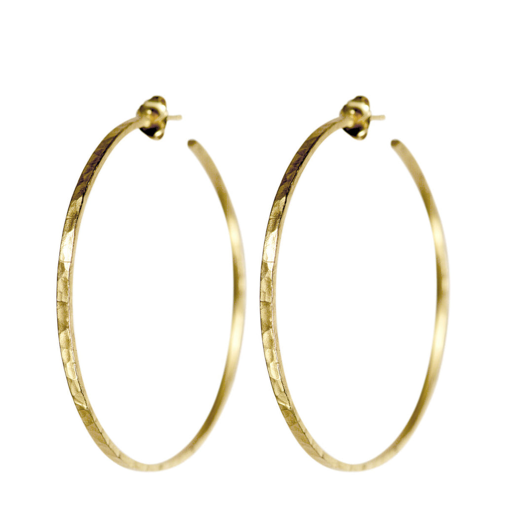 18K Gold Large Hammered Hoop Earrings