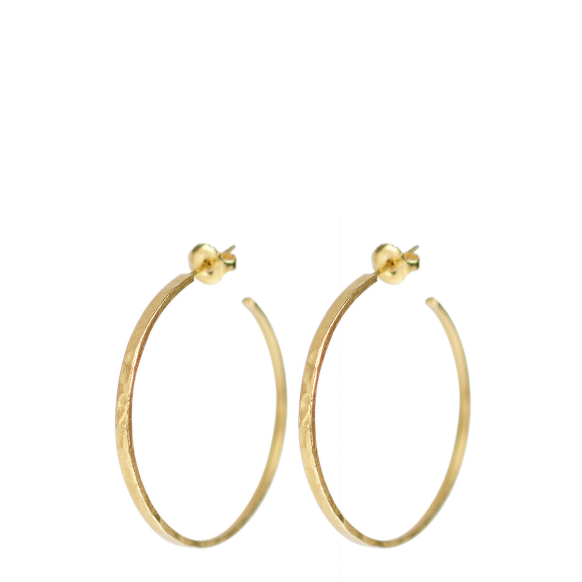 18K Gold Medium Hammered Hoop Earrings