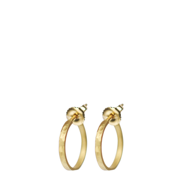 18K Gold Small Hammered Hoop Earrings