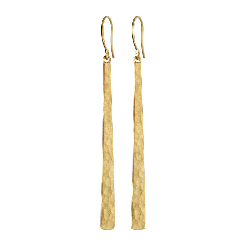 18K Gold Long Hammered Earrings