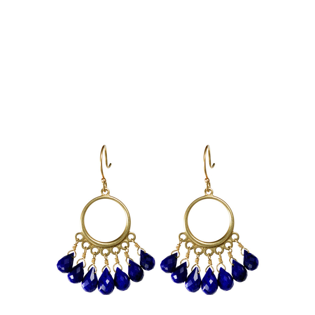18K Gold Small Circle Earrings with Lapis Briolettes