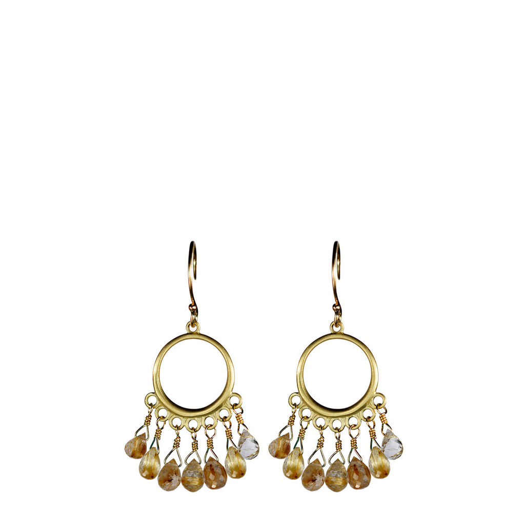 18K Gold Small Circle Earrings with Rutilated Quartz Briolettes