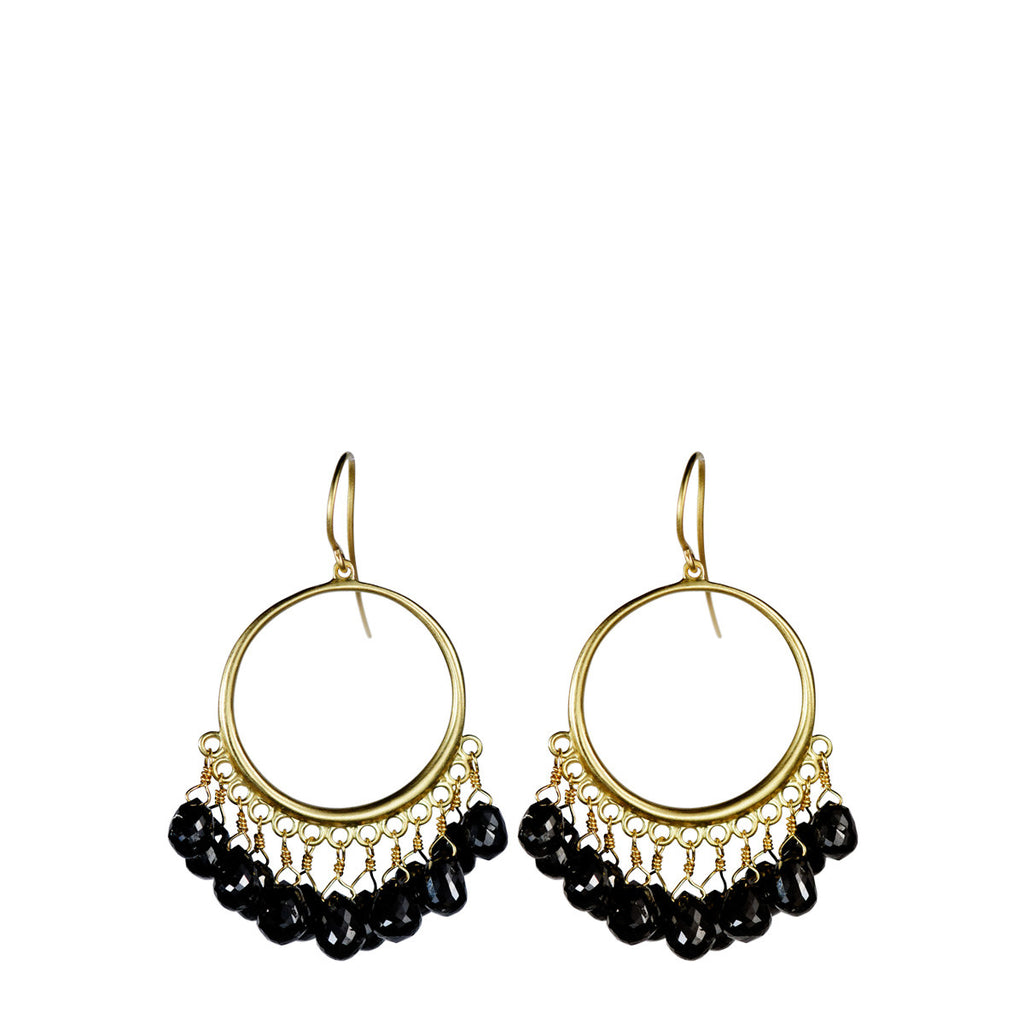 18K Gold Medium Circle Earrings with Black Diamond Briolettes