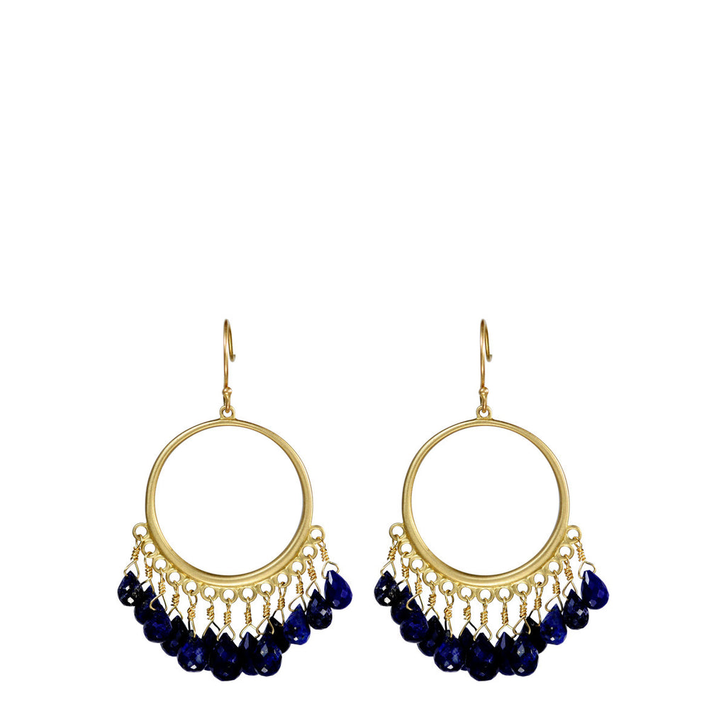 18K Gold Medium Circle Earrings with Lapis Briolettes