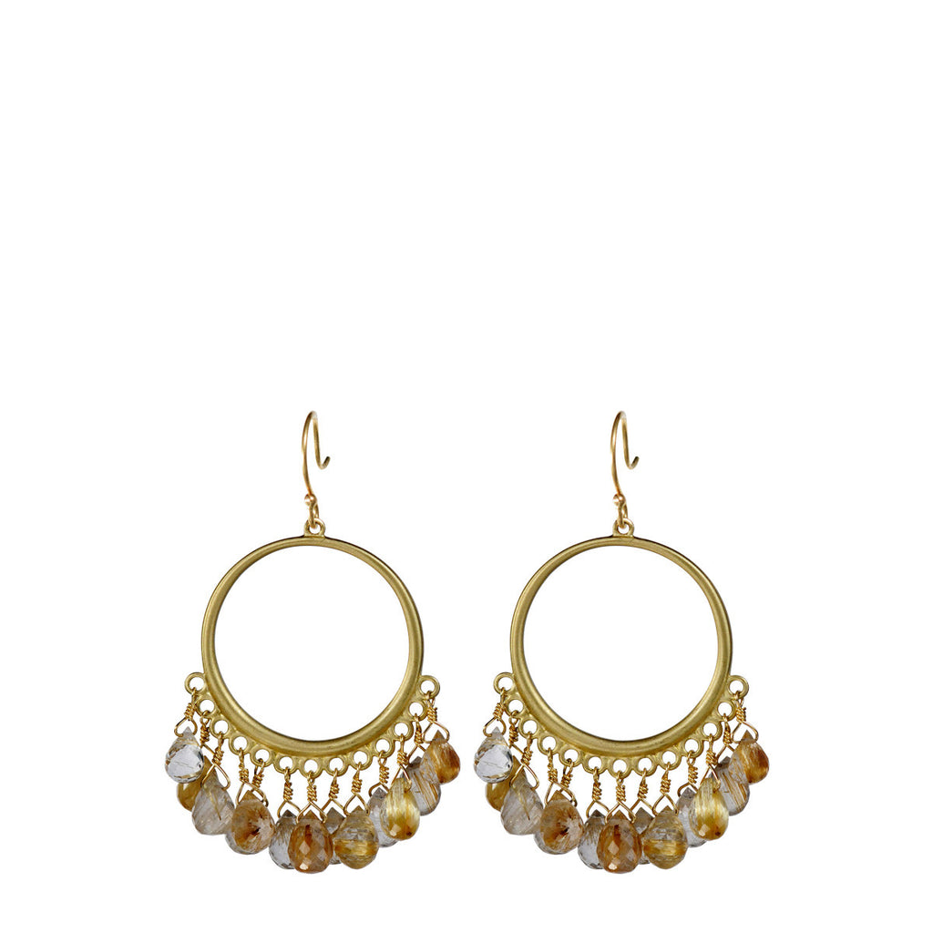 18K Gold Medium Circle Earrings with Rutilated Quartz Briolettes