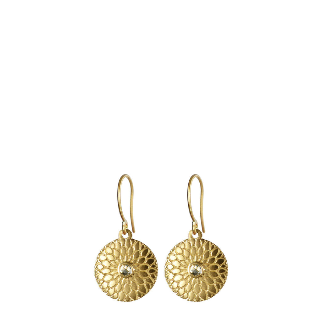 18K Gold  Small Lotus Mandala Earrings with Diamonds