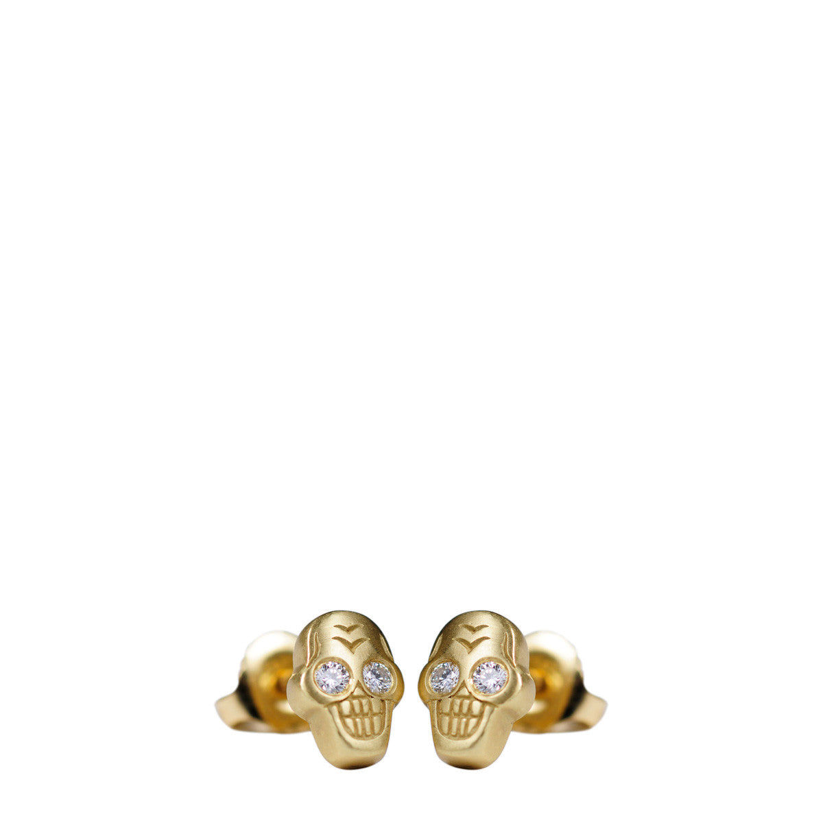 18K Gold Tiny Skull Stud Earrings with Diamonds