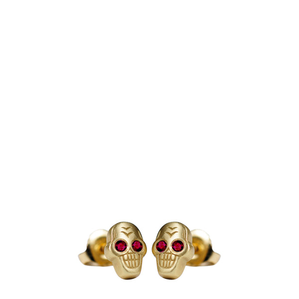 18K Gold Tiny Skull Stud Earrings with Rubies
