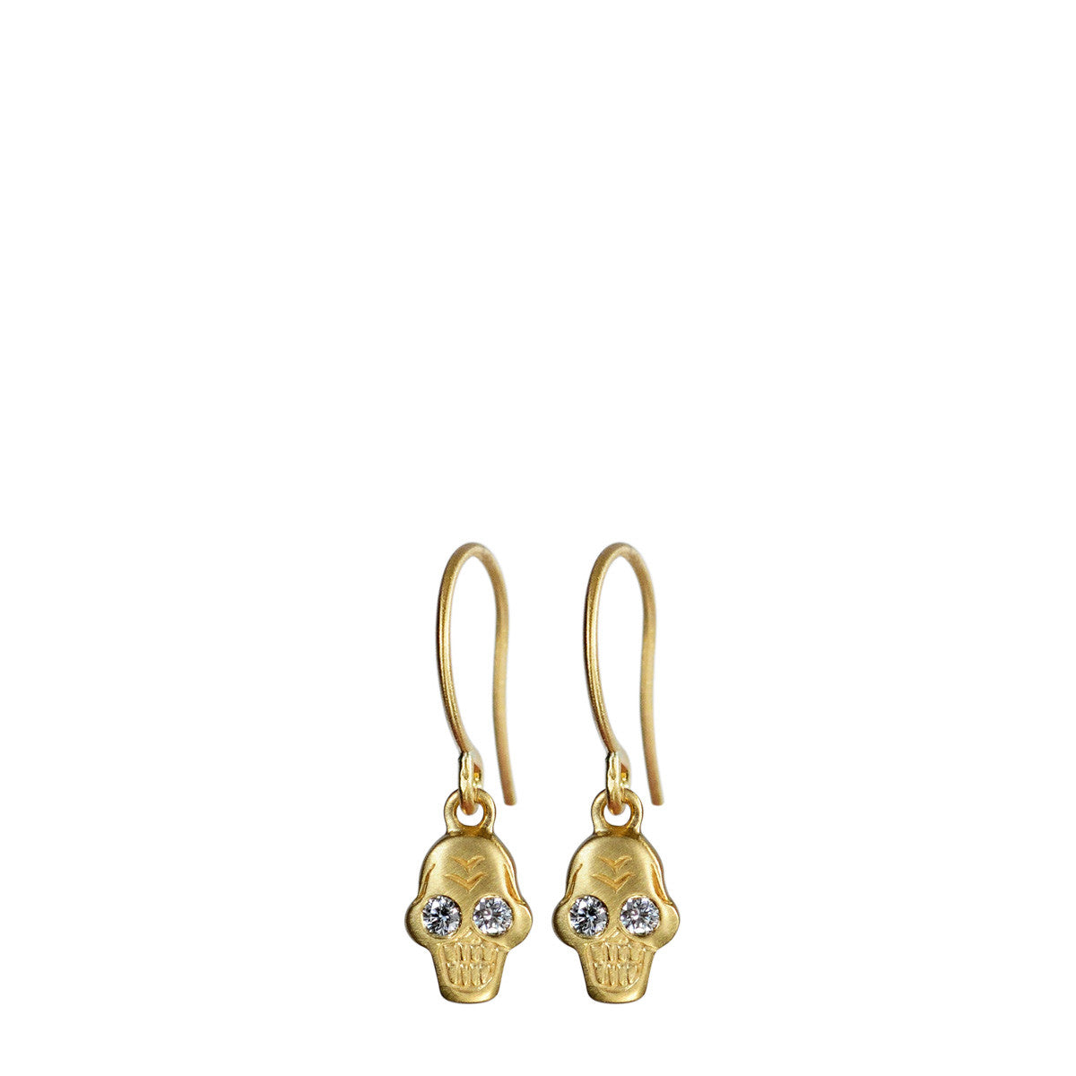 18K Gold Tiny Skull Earrings with Diamonds
