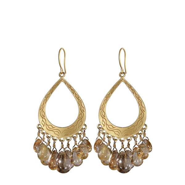 18K Gold Vine Teardrop Earrings with Rutilated Quartz