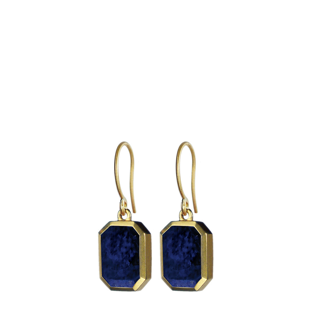 18K Gold Octagonal Lapis Earrings