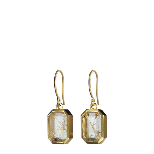 18K Gold Octagonal Rutilated Quartz Earrings