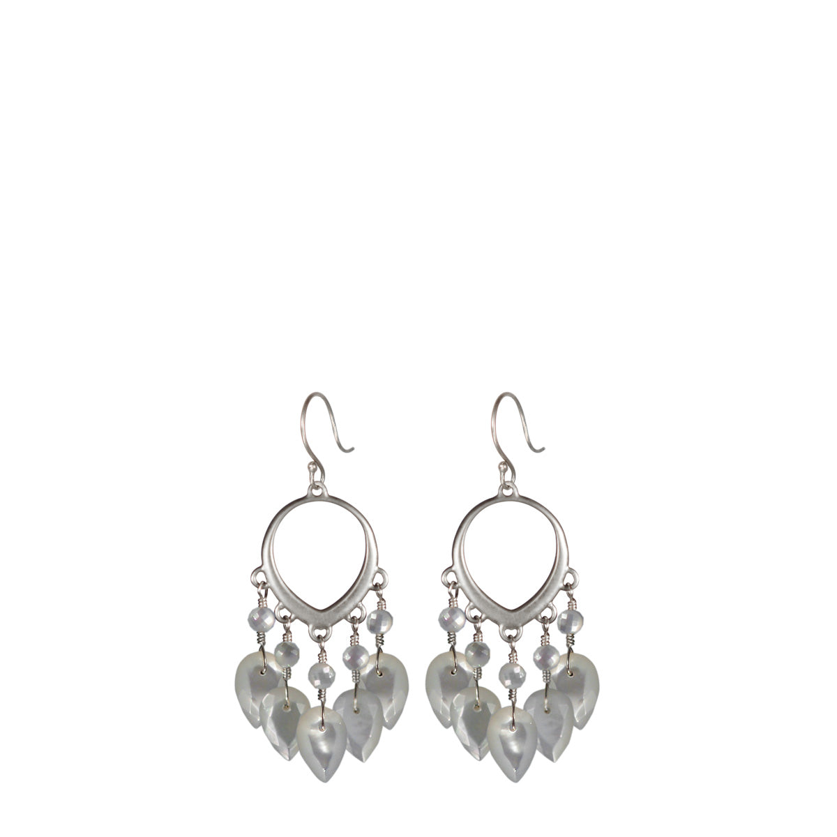Sterling Silver Small Open Lotus Earrings with Mother of Pearl