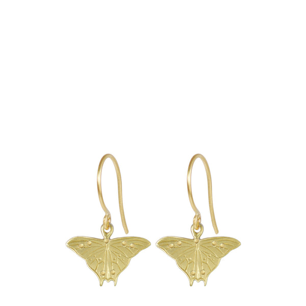 18K Gold Butterfly Silhouette Drop Earrings