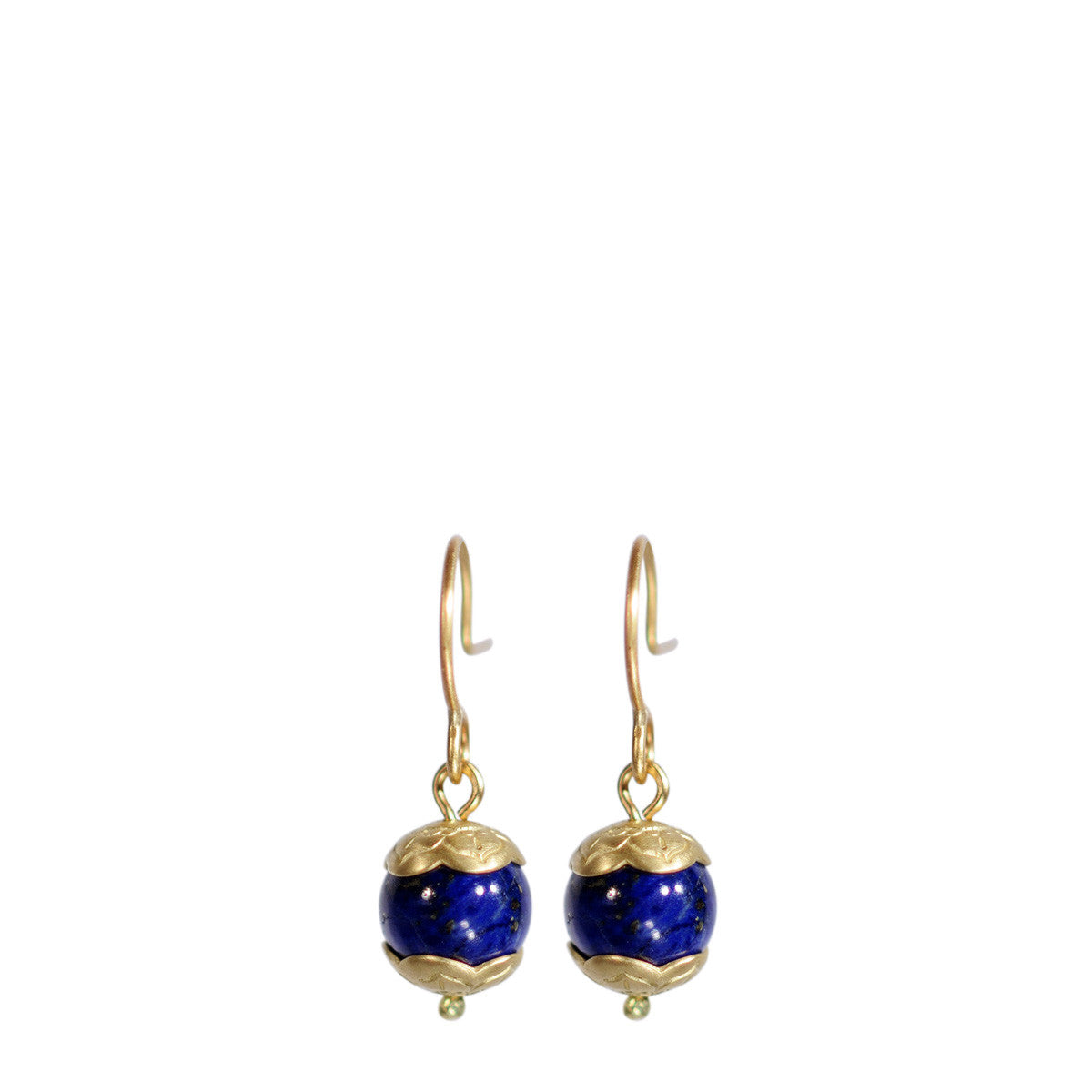18K Gold Small Lapis Flower Cap Earrings