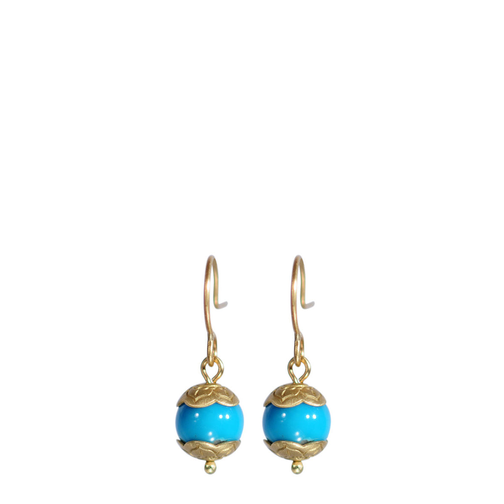18K Gold Small Turquoise Flower Cap Earrings