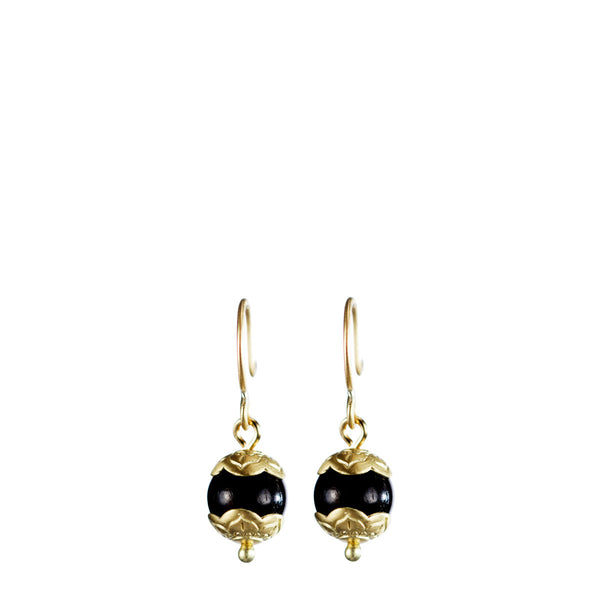 18K Gold Small Vintage Ebony Flower Cap Earrings