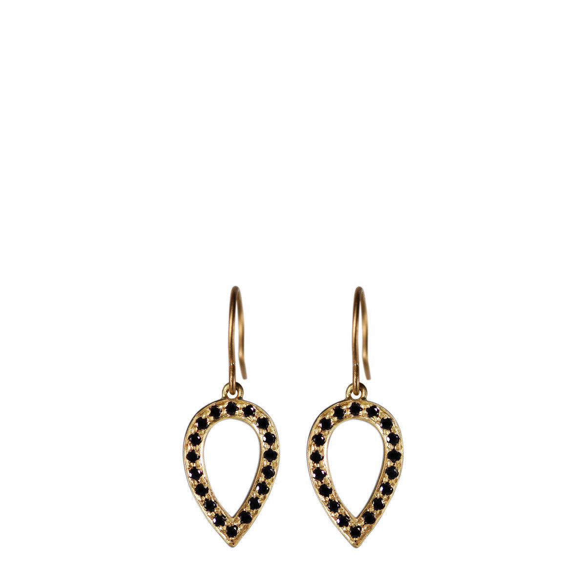 18K Gold Black Diamond Pave Teardrop Earrings