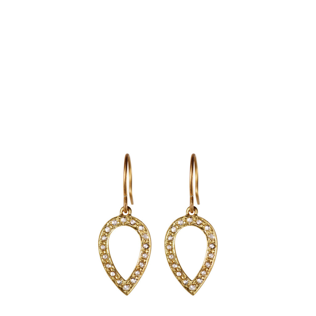 18K Gold Diamond Pave Teardrop Earrings