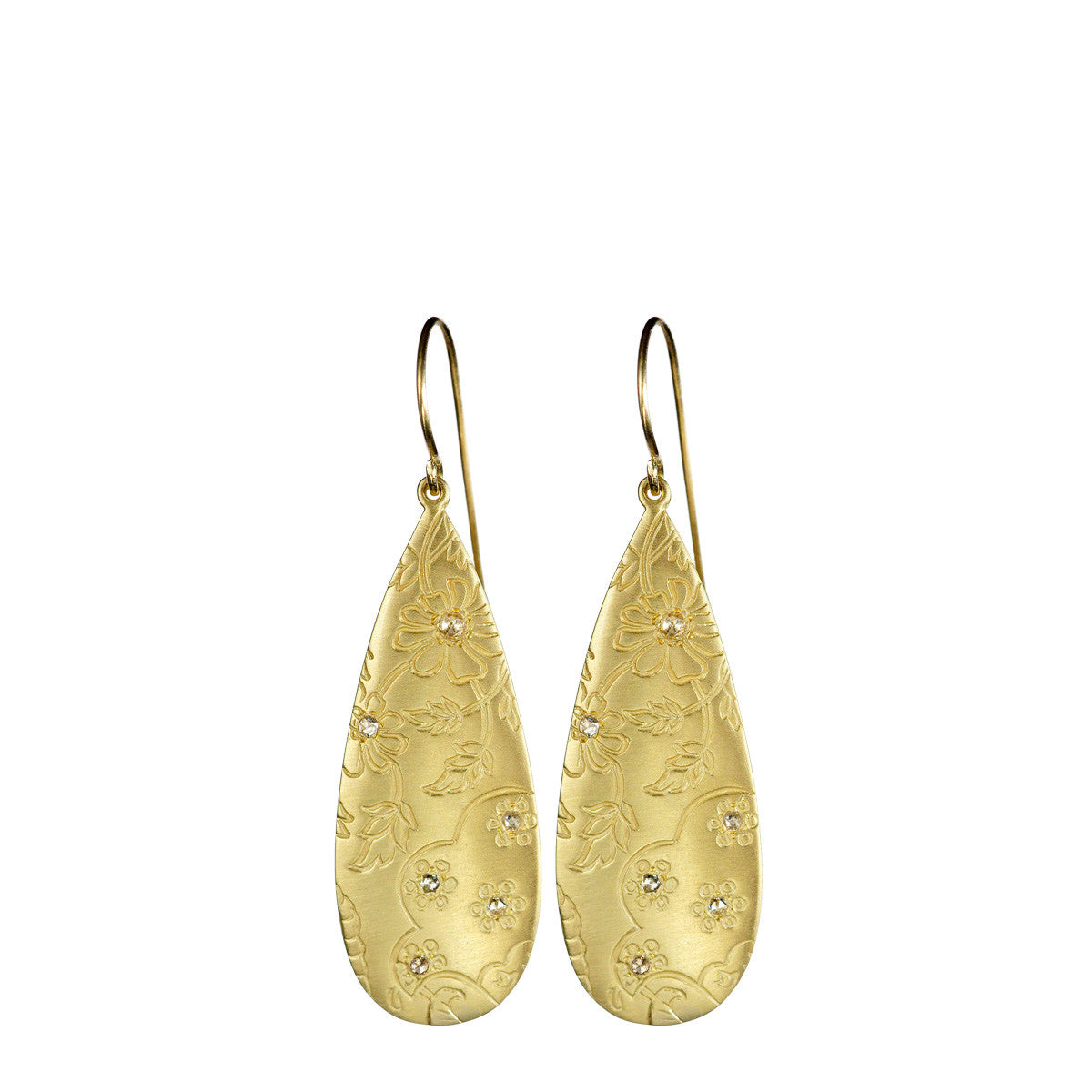 18K Gold Slim Teardrop Paisley Earrings with Diamonds