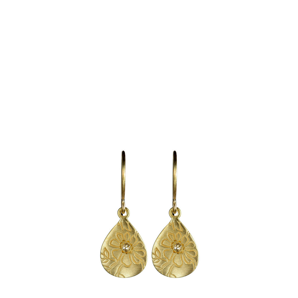 18K Gold Tiny Teardrop Paisley Earrings with Diamonds