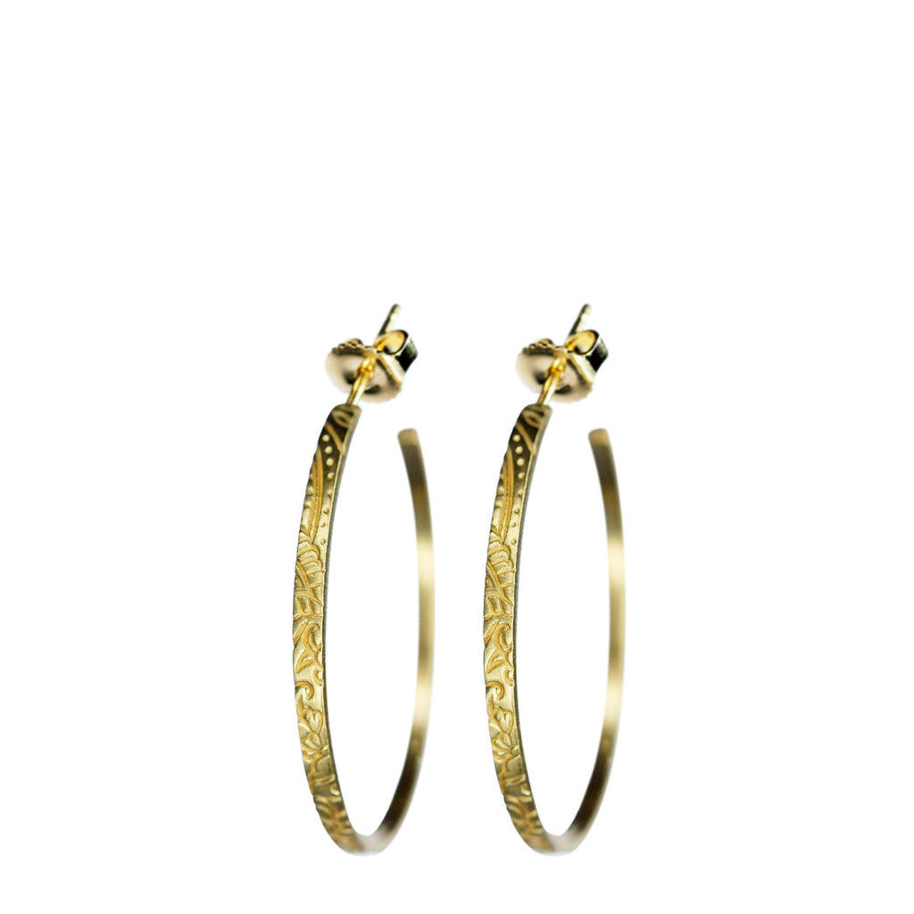 18K Gold Medium Paisley Hoop Earrings