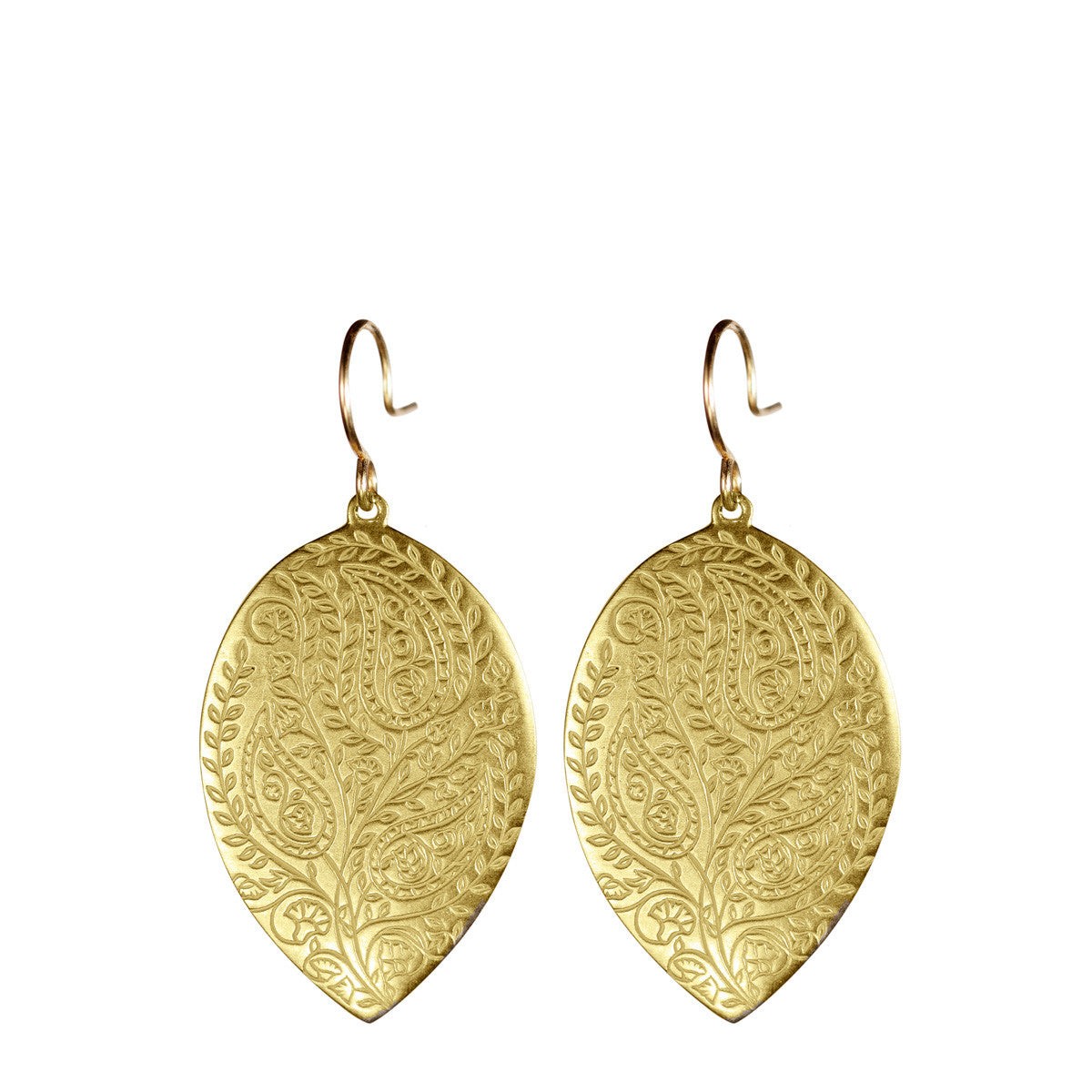 18K Gold Large Engraved Paisley Teardrop Earrings