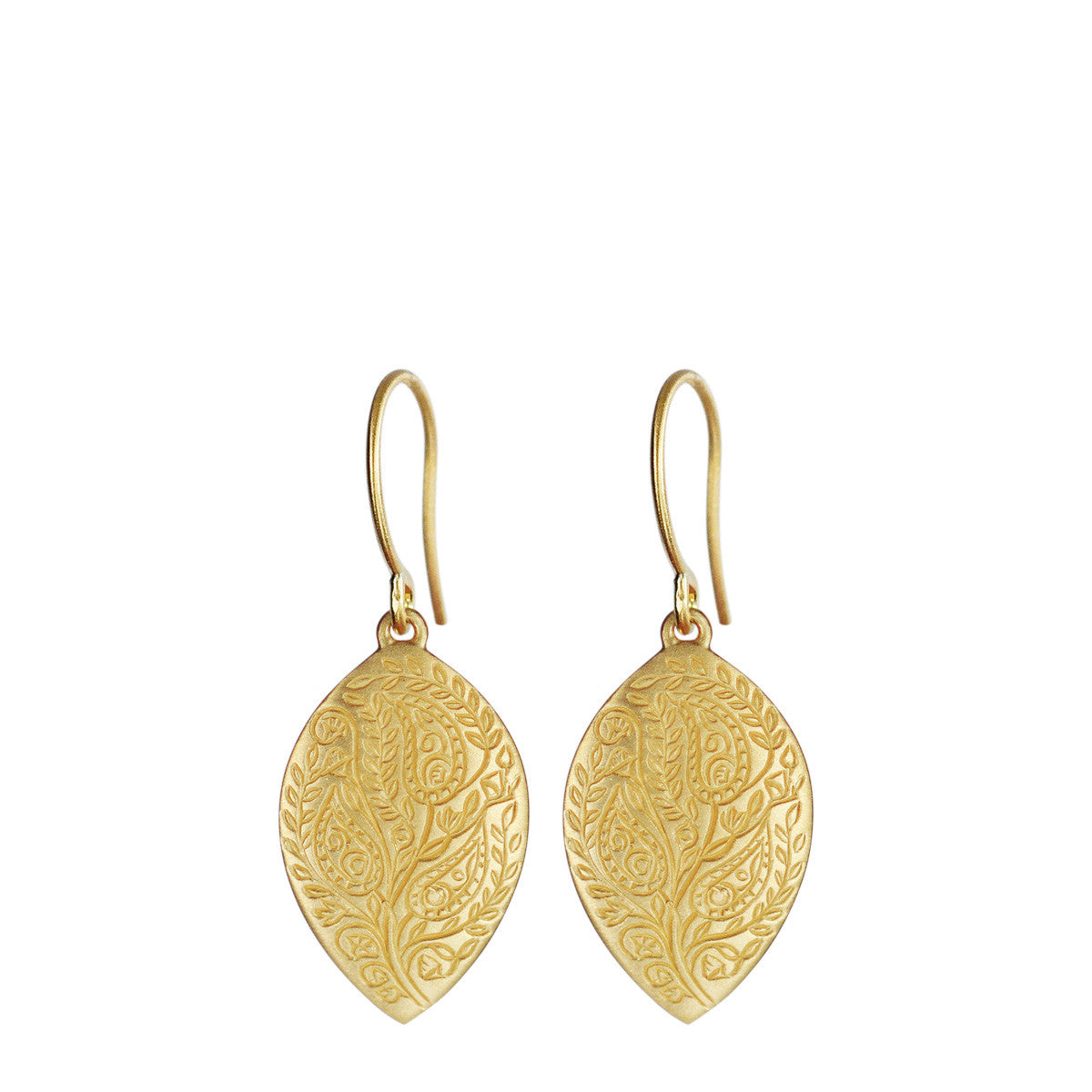18K Gold Medium Engraved Paisley Earrings