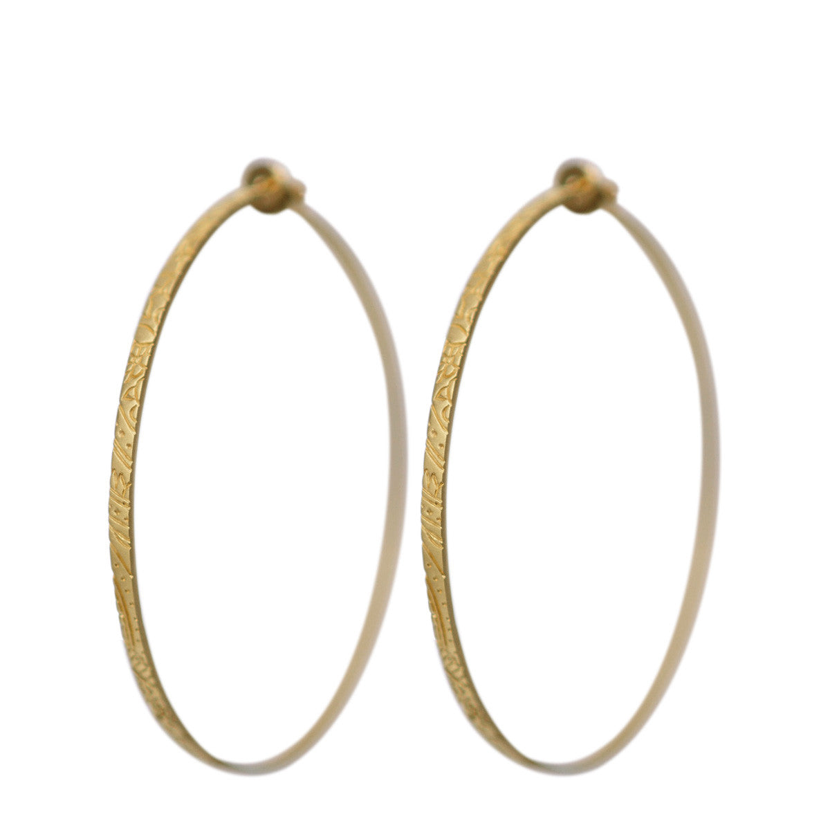 18K Gold Large Paisley Hoop Earrings