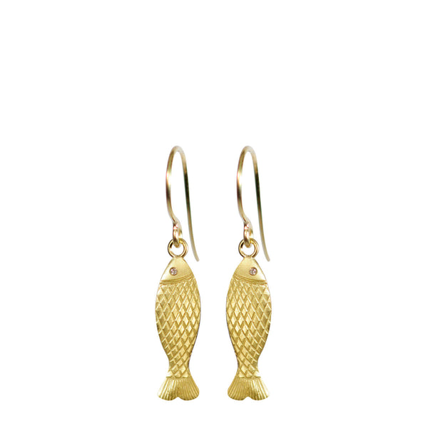 18K Gold Small Fish Earrings with Diamond Eyes