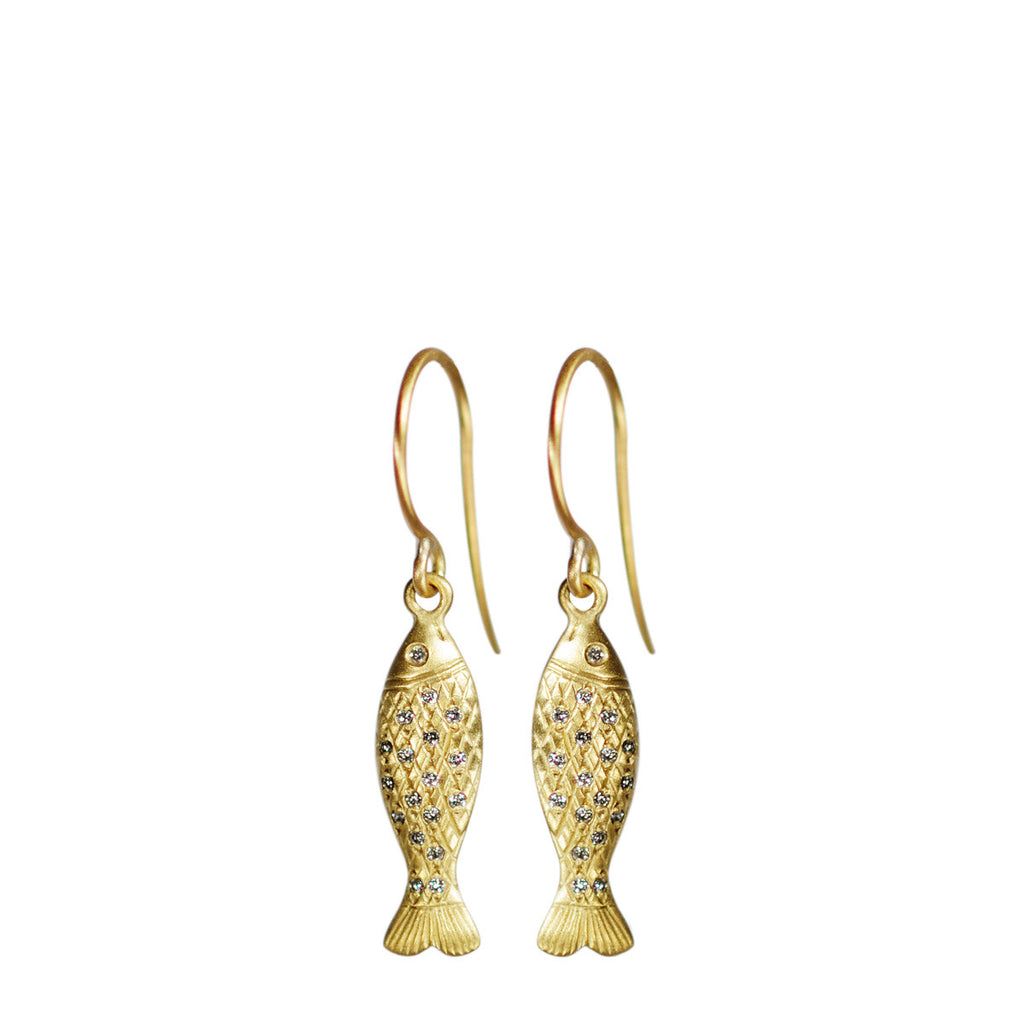 18K Gold Small Fish Earrings with Diamond Scales