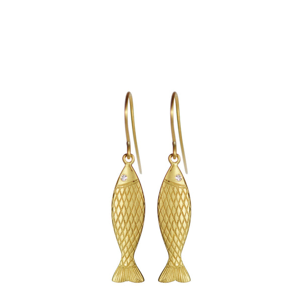 18K Gold Medium Fish Earrings with Diamond Eyes