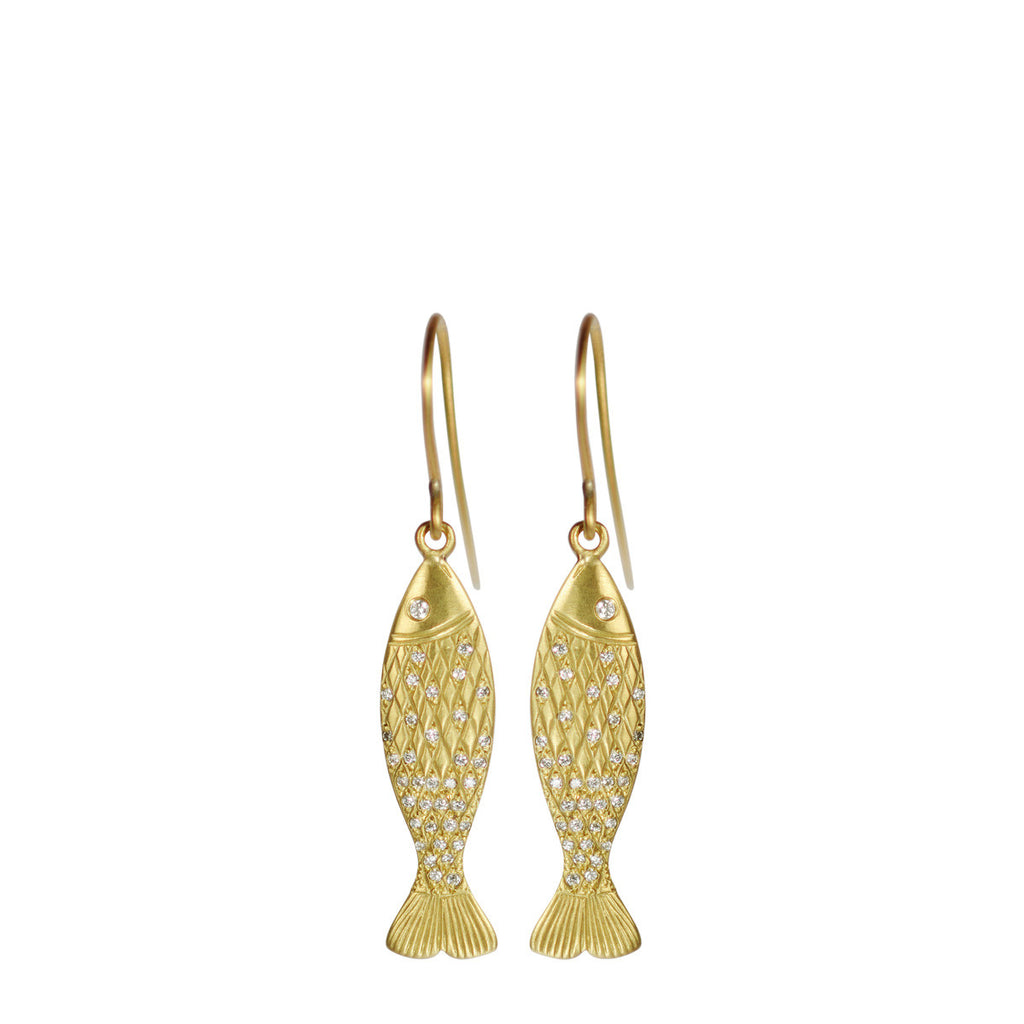 18K Gold Medium Fish Earrings with Diamond Scales