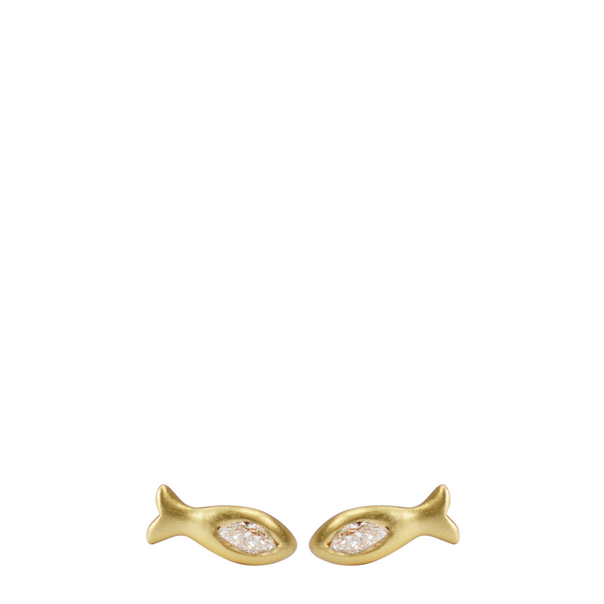 18K Gold Fish Stud Earrings with Marquise Diamonds