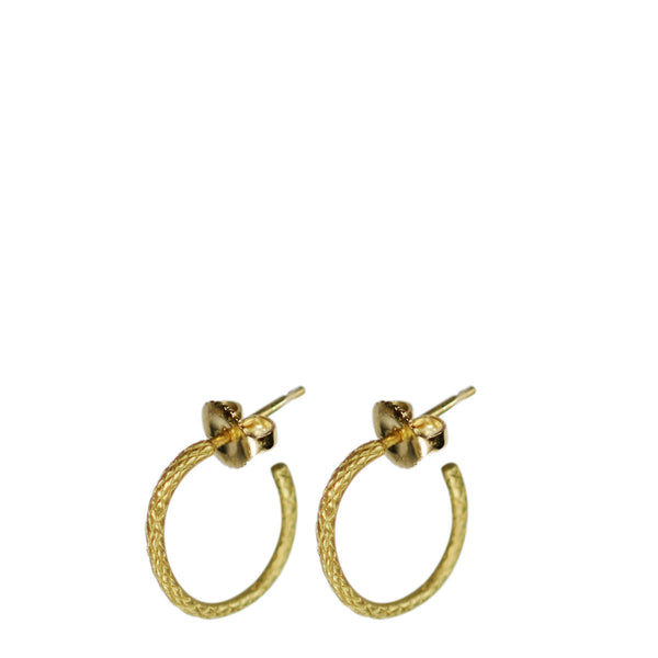 18K Gold Small Fish Scale Hoop Earrings