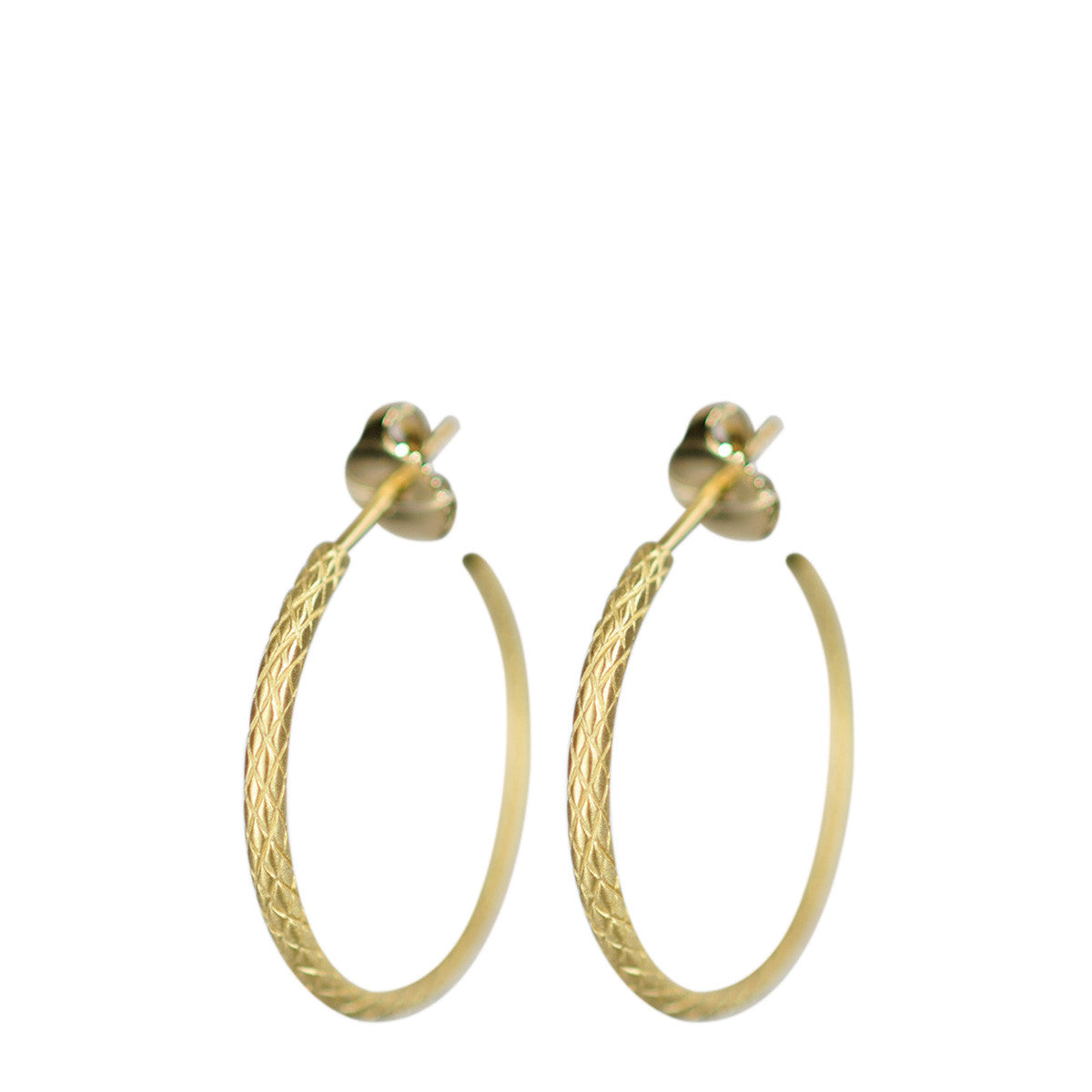 18K Gold Medium Fish Scale Hoop Earrings